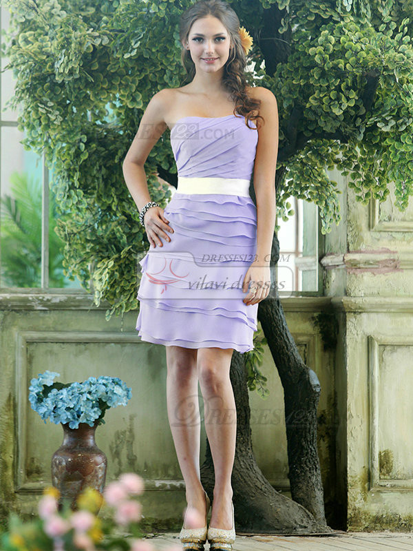 Sheath Chiffon Strapless Short Tiered Sash Lavender Bridesmaid Dresses
