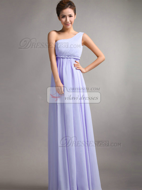 A Line One Shoulder Floor Length D Lavender Bridesmaid Dresses