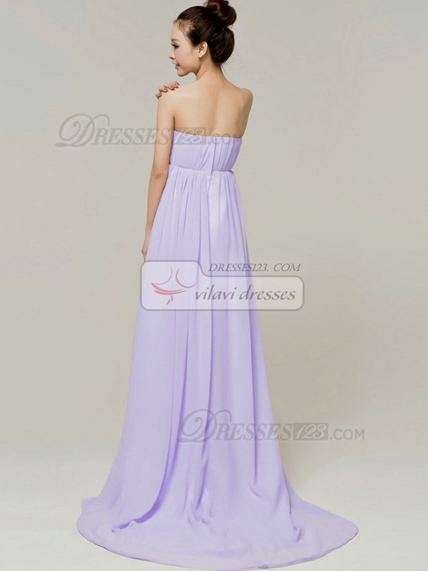 Column Brush Train Tube Top Strapless Flower Lavender Bridesmaid Dresses