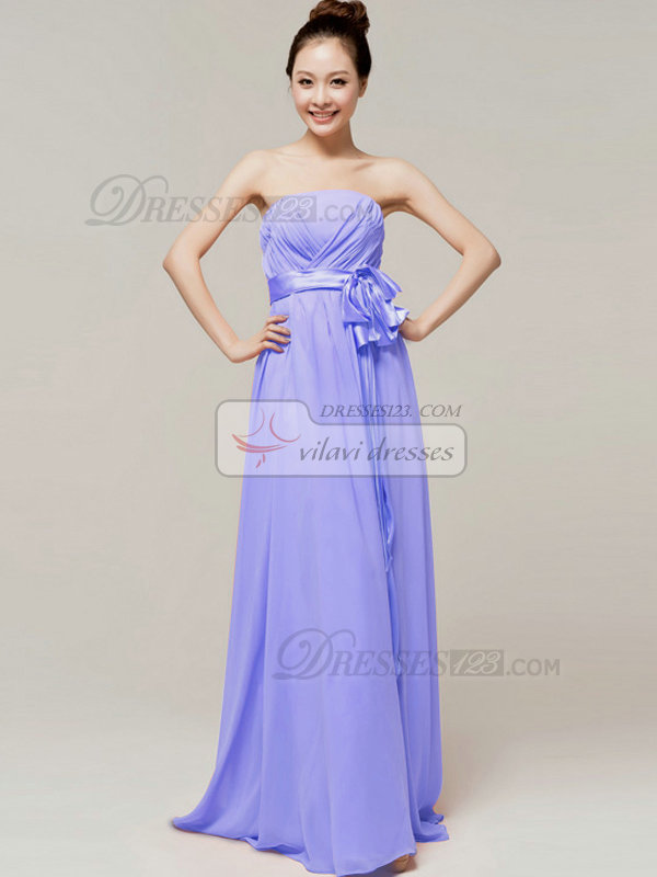 Noble A-Line Floor Length Wrap Pleats Tube Top Strapless Sashes Lavender Bridesmaid Dresses