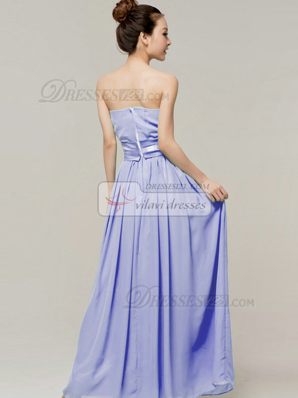 Column Sweetheart Strapless Ribbons Floor Length Lavender Bridesmaid Dresses