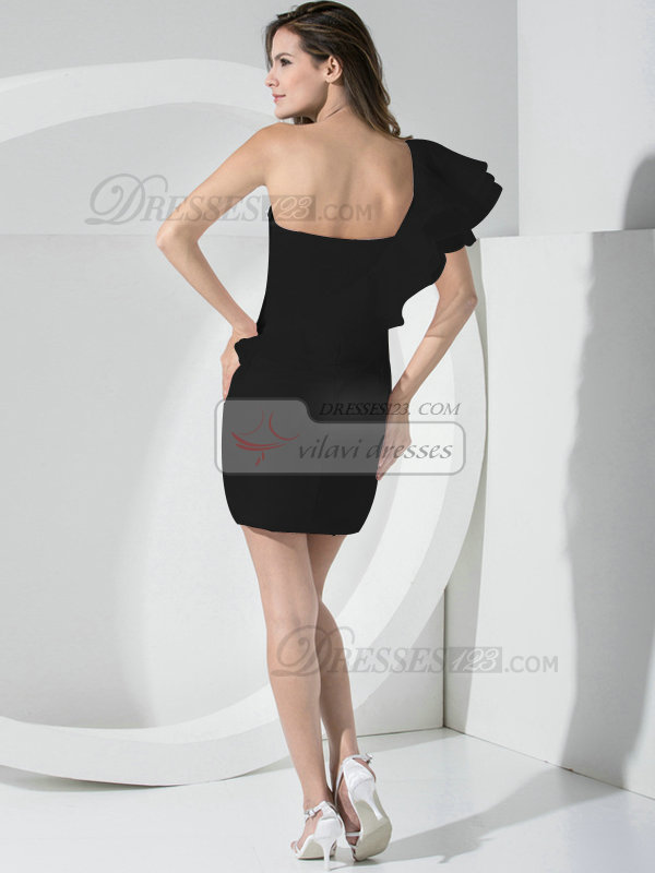 Surpassingly Beautiful Sheath Organza One shoulder Side-draped Black Bridesmaid Dresses