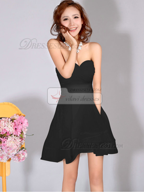 Beautiful A-Line Sweetheart Strapless Black Bridesmaid Dresses