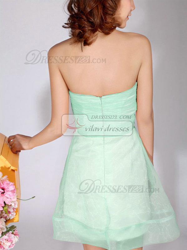 A-Line Sweetheart Strapless Short Sage Bridesmaid Dresses