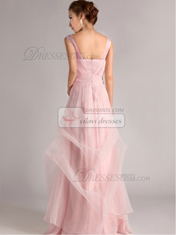 A-Line Straps Tube Top Floor-length Ruffles Pink Bridesmaid Dresses