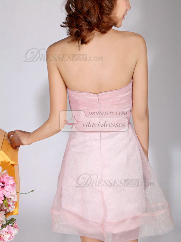 A-Line Sweetheart Strapless Short Pink Bridesmaid Dresses