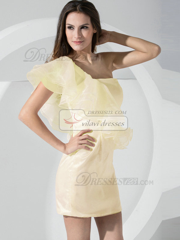 Sheath Organza Falbala One Shoulder Side-draped Daffodil Bridesmaid Dresses