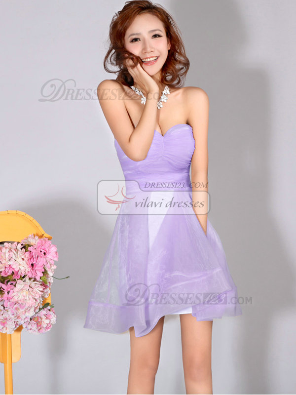 A-Line Sweetheart Strapless Short Lilac Bridesmaid Dresses ...