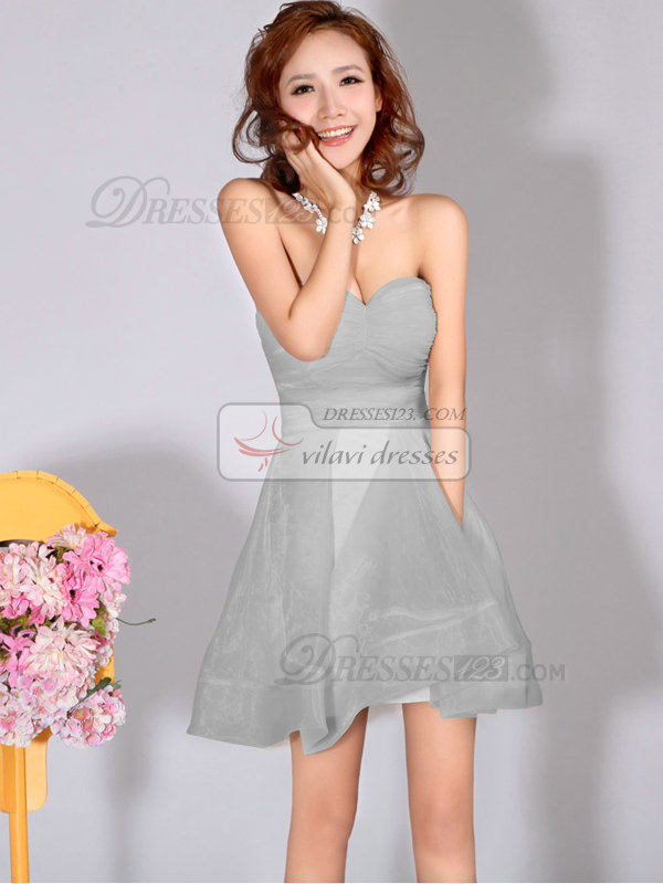 A-Line Sweetheart Strapless Short Silver Bridesmaid Dresses
