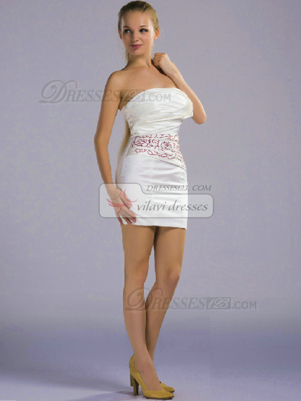 Sheath Strapless Short Satin Embroider White Bridesmaid Dresses