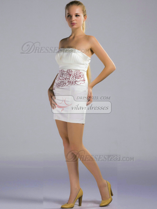 Sheath Strapless Short Satin White Embroider Pleats Bridesmaid Dresses