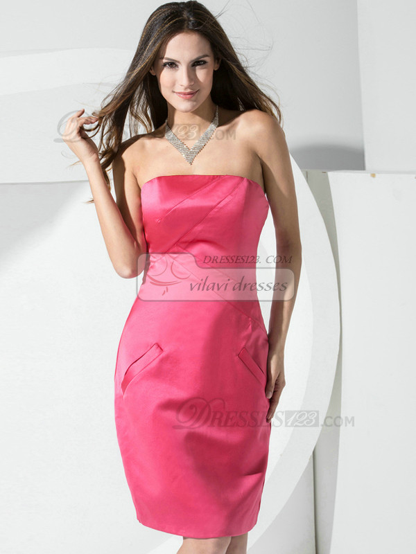 Sheath Satin Tube Top Pockets Short Hot Pink Bridesmaid Dresses