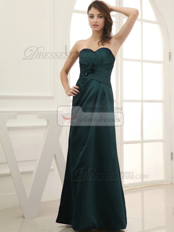 Column Satin Floor-length Flower Sweetheart Dark Green Bridesmaid Dresses