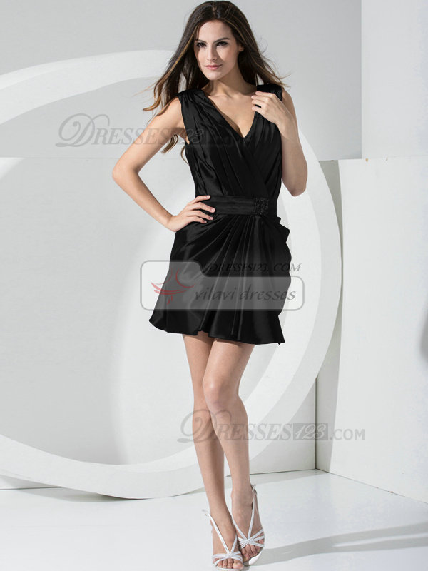 Magnificent Sheath Stretch Satin Straps Sashes/Ribbons Black Bridesmaid Dresses