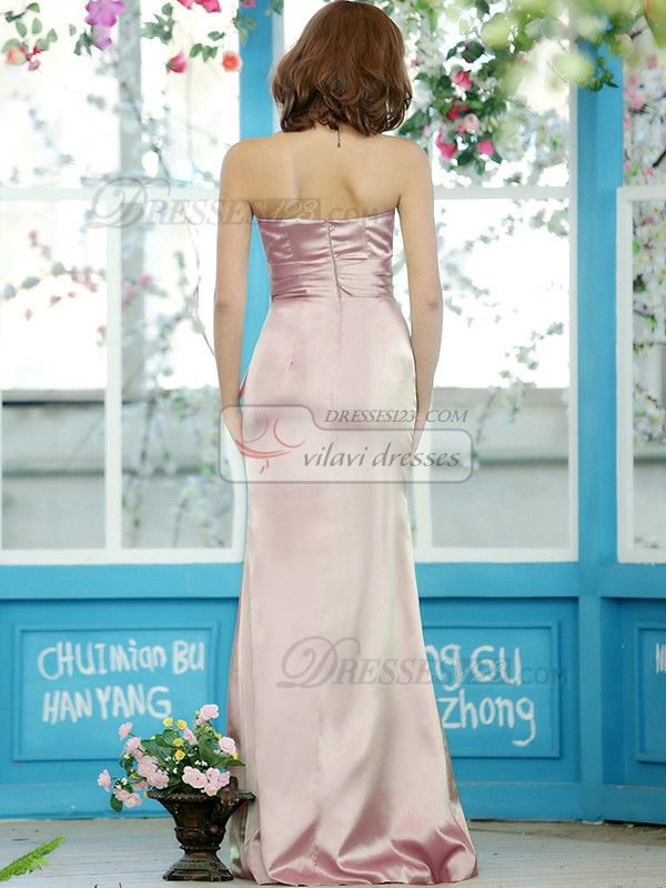 Modest Sheath Stretch Satin Strapless Floor-length Light Pink Sash Draped Bridesmaid Dresses