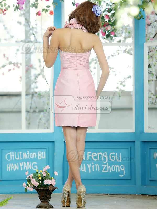 Sheath Stretch Satin Halter Flower Straps Short Light Pink Draped Bridesmaid Dresses