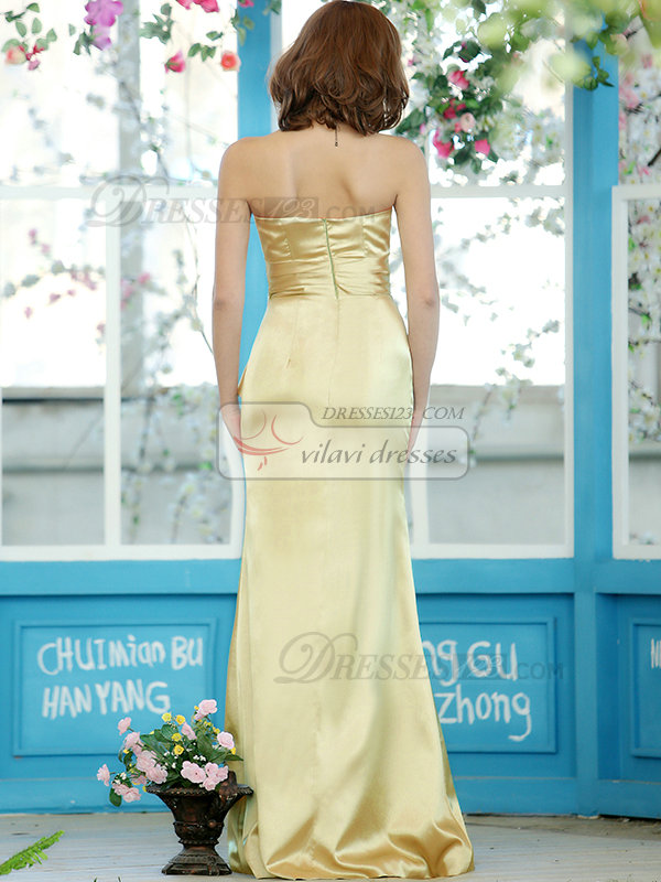 Modest Sheath Stretch Satin Strapless Floor-length Daffodil Sash Draped Bridesmaid Dresses