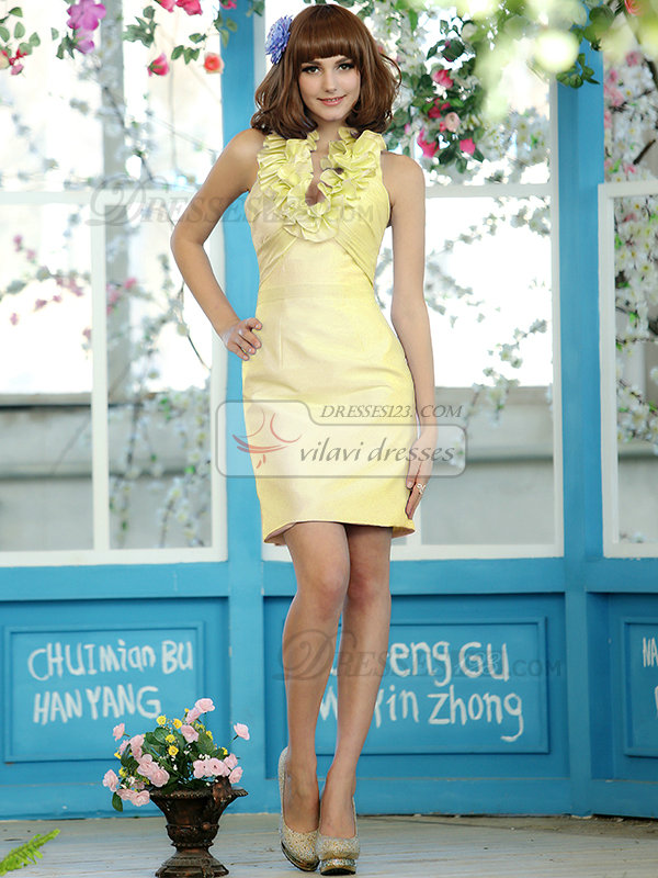 Sheath Stretch Satin Halter Flower Straps Short Daffodil Draped Bridesmaid Dresses