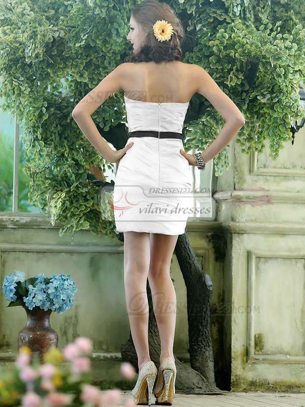 Ruched Sheath Stretch Satin Sweetheart Short  White Bridesmaid Dresses
