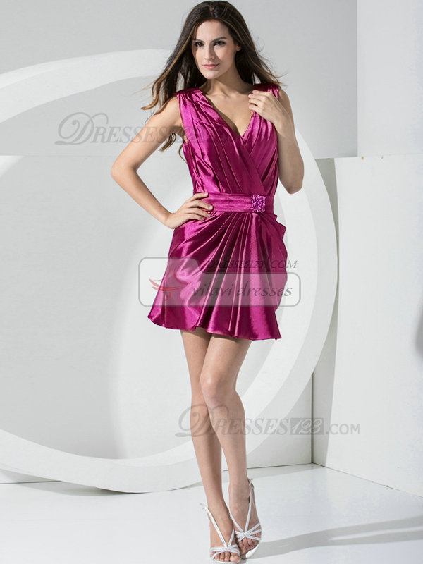 Sheath Stretch Satin Straps Sashes Short Fuchsia Bridesmaid Dresses