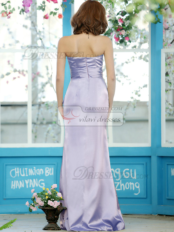 Modest Sheath Stretch Satin Strapless Floor-length Lavender Sash Draped Bridesmaid Dresses