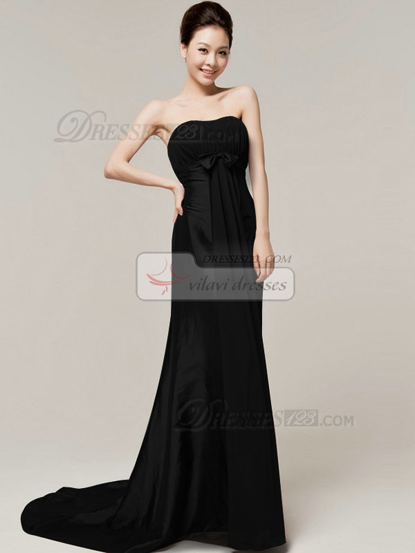 Elegant Sheath/Column Sweetheart Strapless Bowknot Black Bridesmaid Dresses