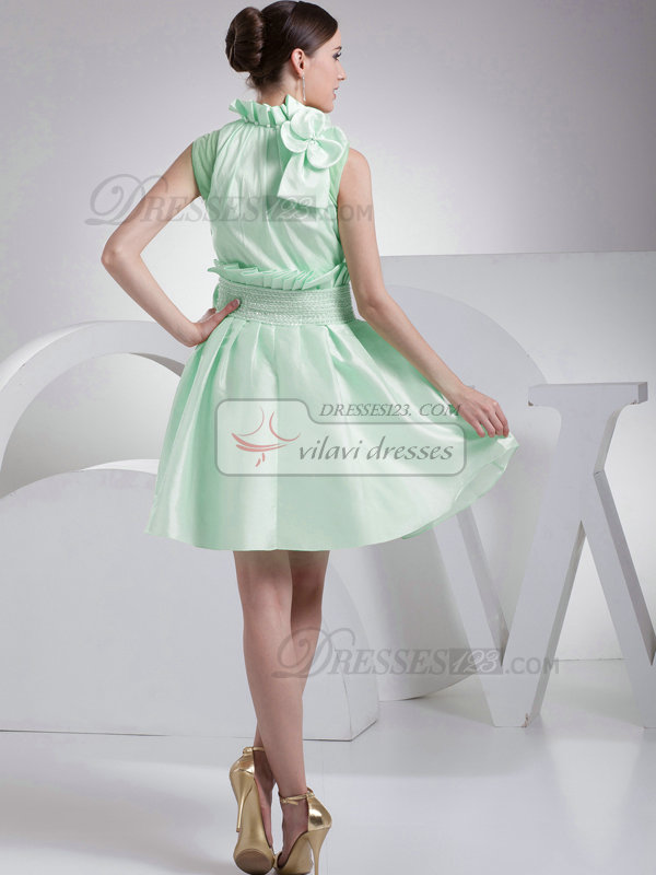 A-Line Taffeta High Neck Bowknot Pleats Sage Short Bridesmaid Dresses
