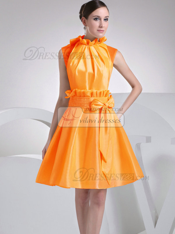 A-Line Taffeta High Neck Bowknot Pleats Orange Short Bridesmaid Dresses