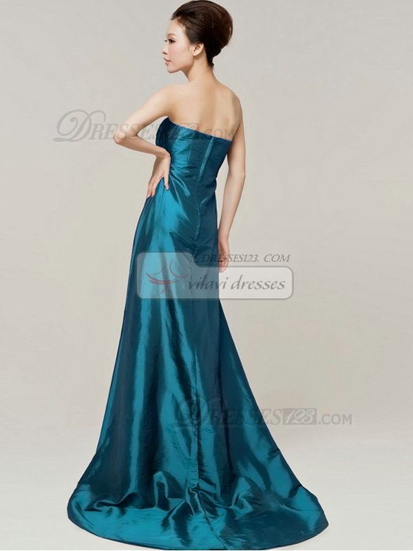 Column Sweetheart Strapless Bowknot Brush Train Blue Bridesmaid Dresses
