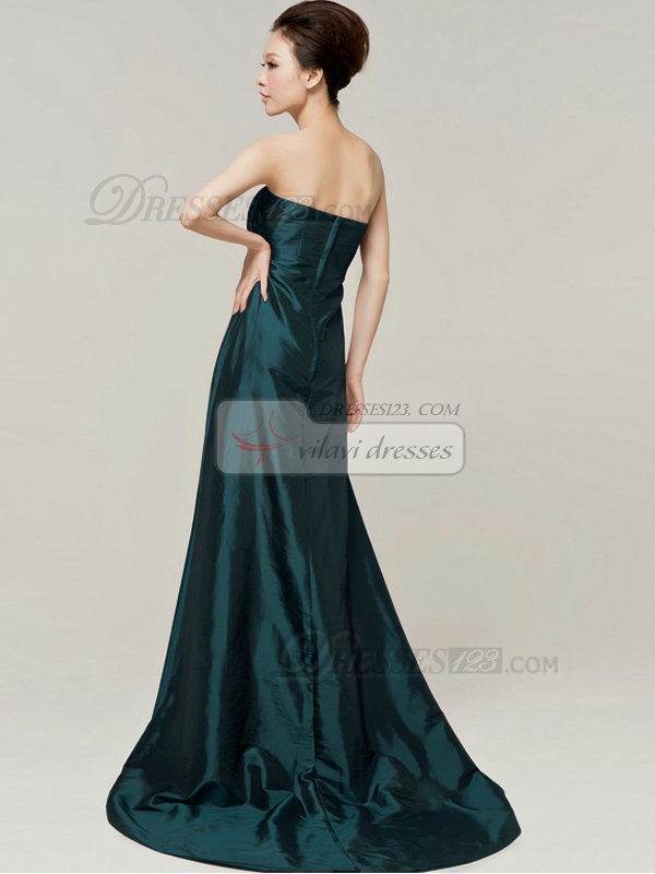 Column Sweetheart Strapless Bowknot Brush Train Dark Green Bridesmaid Dresses