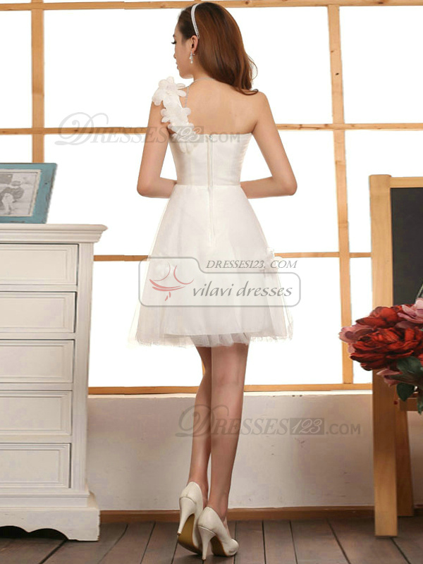 A-line One Shoulder Short Tulle White Flower Bridesmaid Dresses