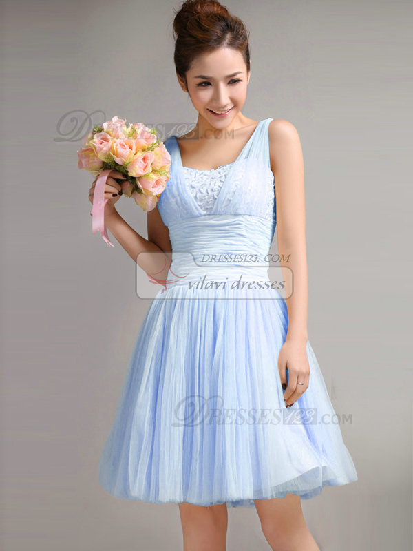 A-Line Straps Draped Short Light Sky Blue Bridesmaid Dresses