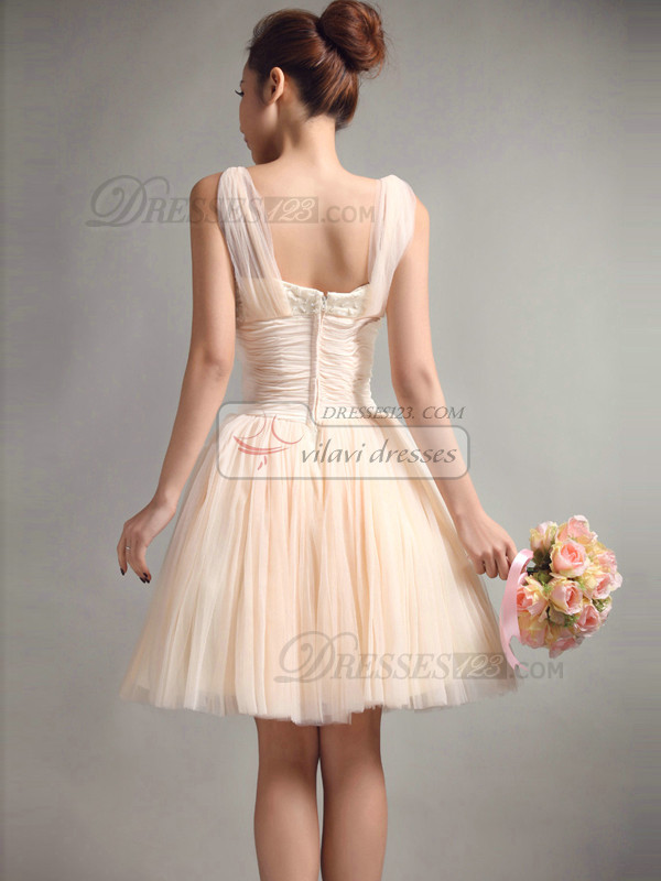 Beautiful A-Line Straps Draped Bridesmaid Dresses
