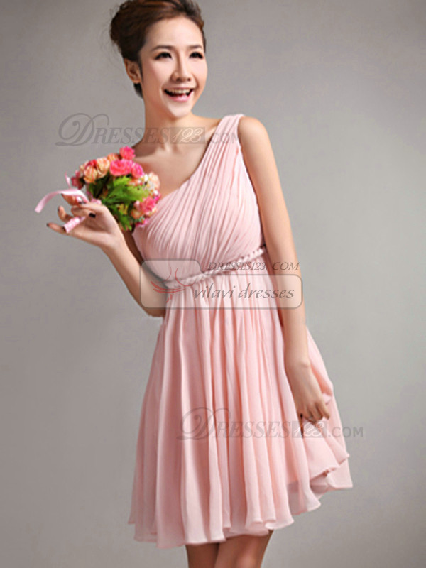 Lovely A-Line One shoulder Draped Bridesmaid Dresses