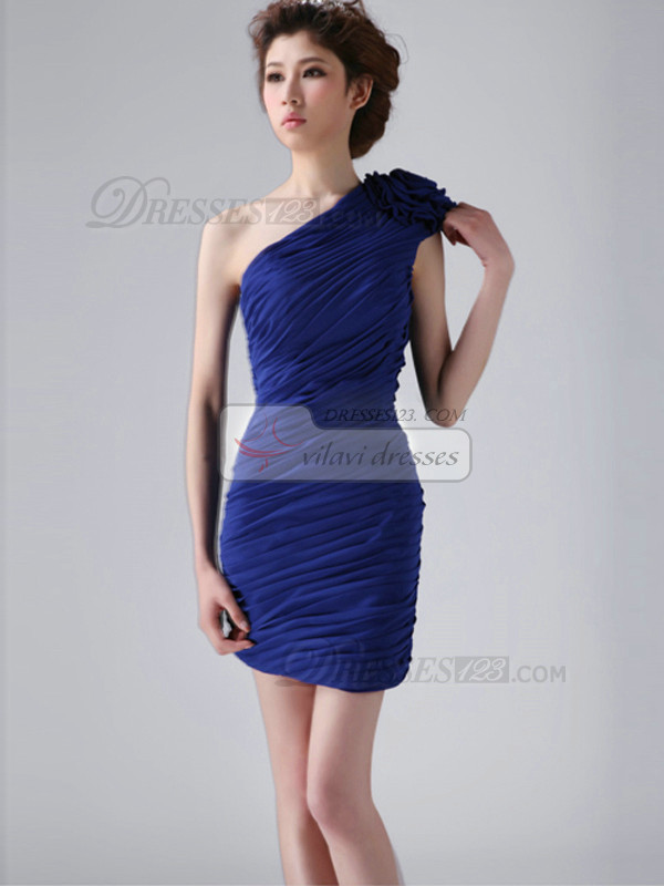 Perfect Sheath/Column One shoulder Flower Bridesmaid Dresses