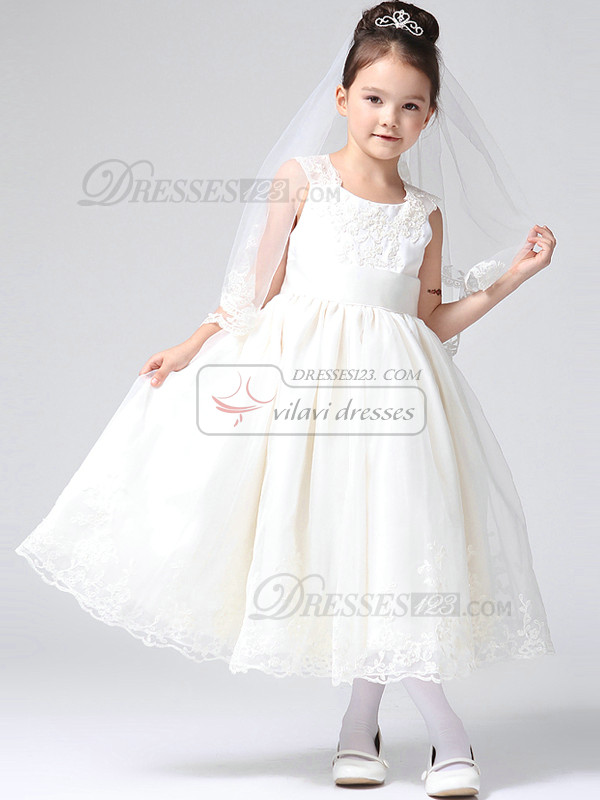 Ball Gown Lace Scoop Tea-length Lace Flower Girl Dresses