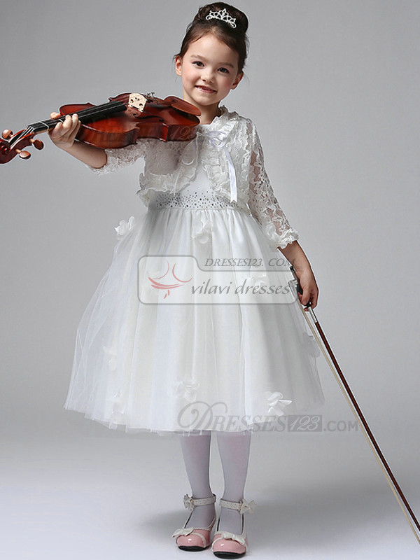 Ball Gown Flower Round Brought Tea-length Lace Flower Girl Dresses With Long Sleeve Jacket
