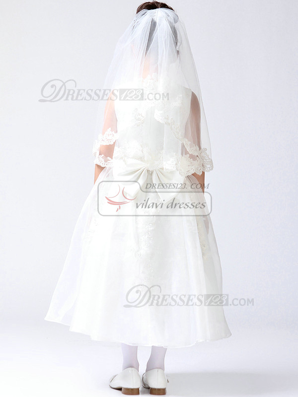 Ball Gown Lace Round Brought Tea-length Lace Flower Girl Dresses