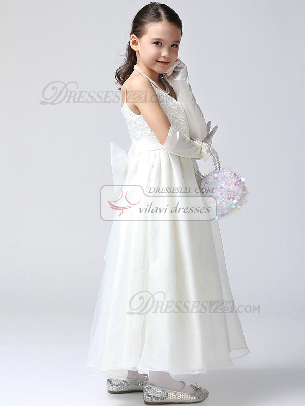 A-line V-neck Spaghetti Straps Ankle-length Lace Bowknot Flower Girl Dresses