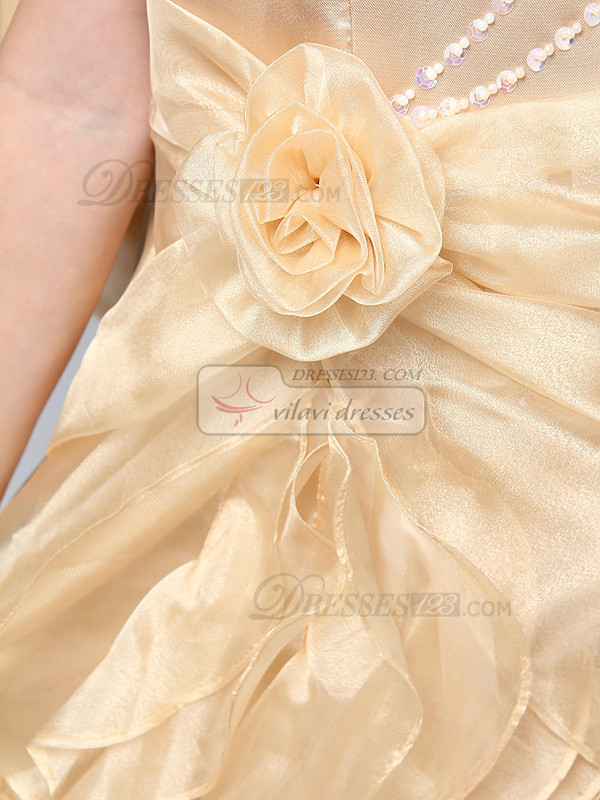A-line Scoop Floor-length Organza Bowknot Ruffle Flower Girl Dresses With Big Bowknot