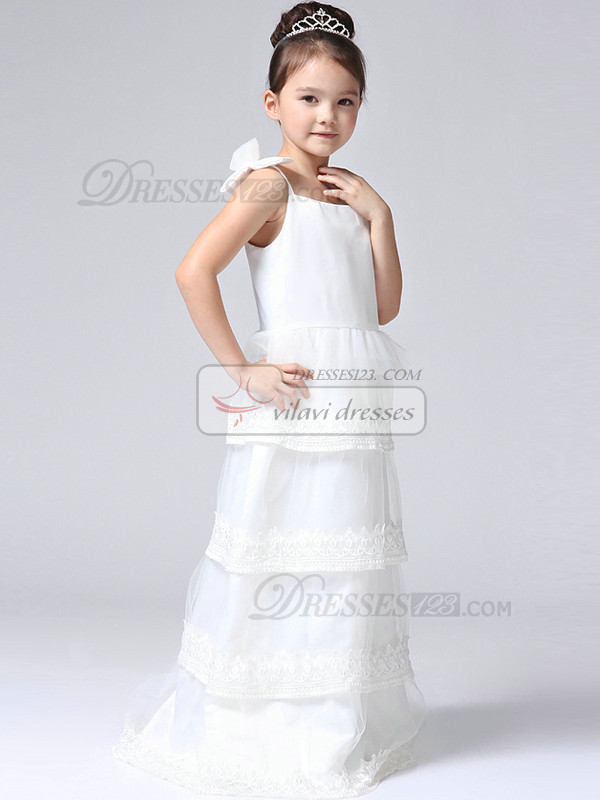 A-line Straps Floor-length Organza Lace Tiered Flower Girl Dresses