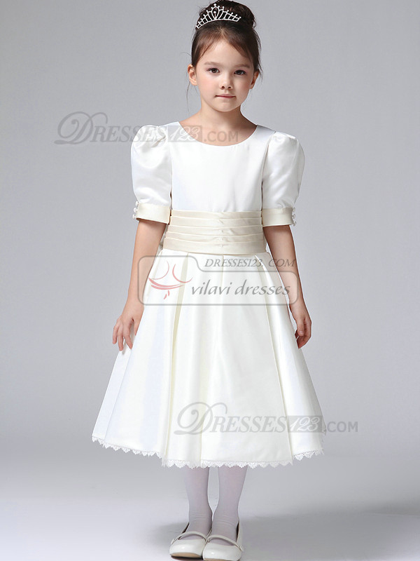 A-line Round Brought Princess Sleeves Tea-length Stretch Satin Bowknot Flower Girl Dresses
