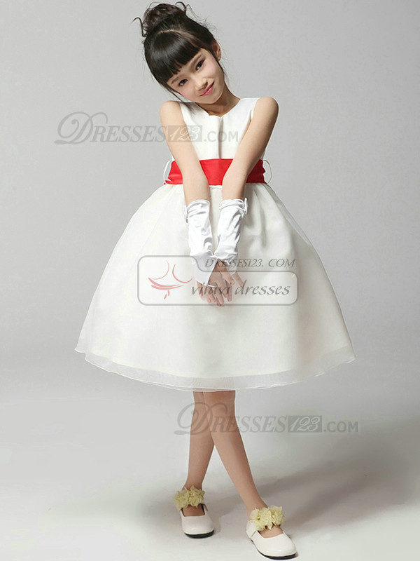 Ball Gown Round Brought Knee-length Tulle Bowknot Flower Girl Dresses