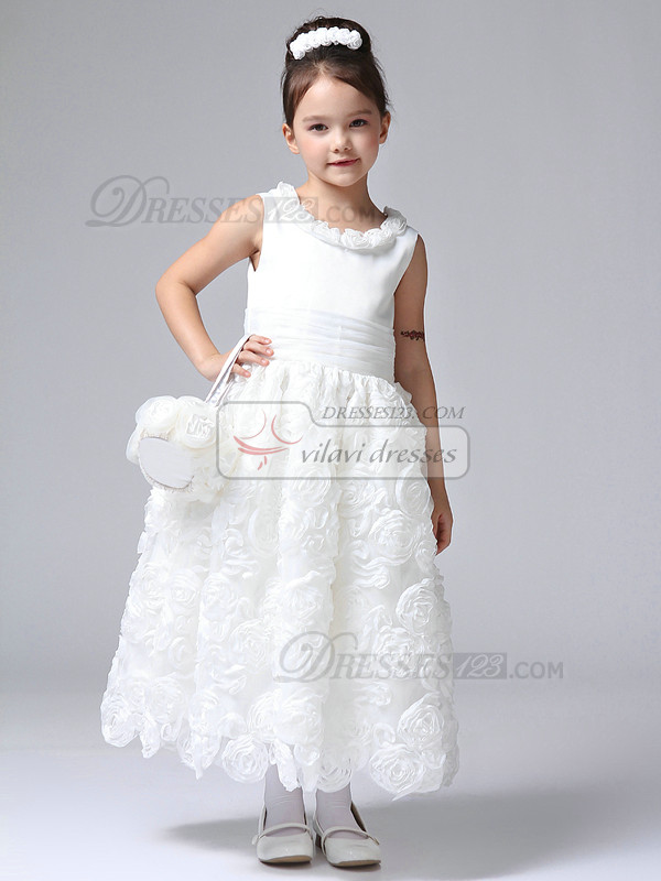 Ball Gown Flower Round Brought Ankle-length Tulle Flower Girl Dresses