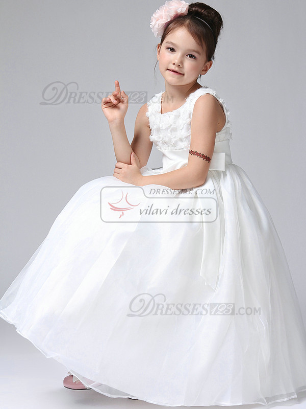 Ball Gown V-neck Ankle-length Tulle Appliques Flower Girl Dresses