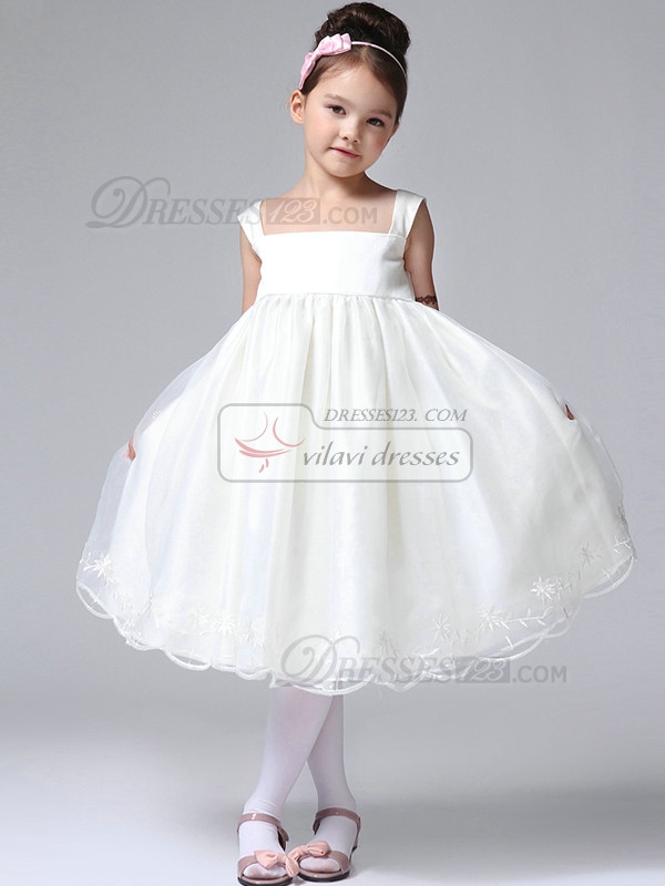 Ball Gown Straps Tea-length Tulle Lace Flower Girl Dresses