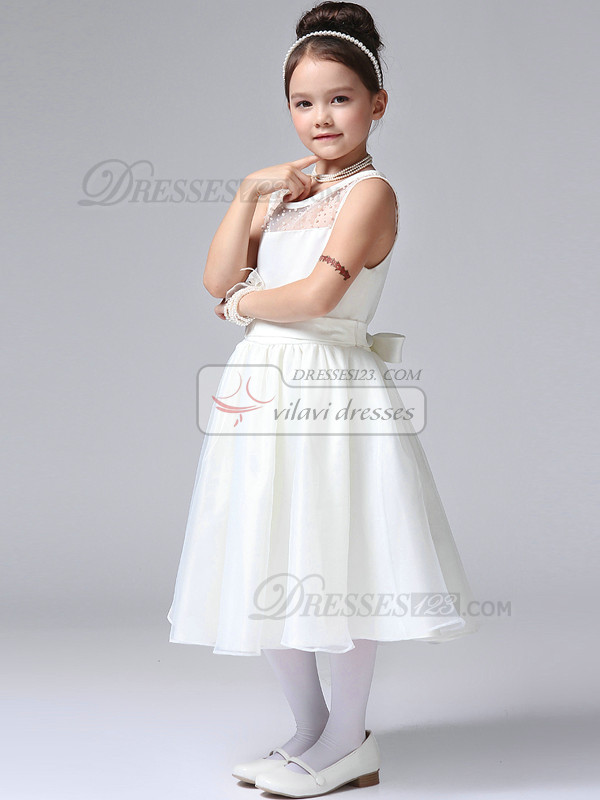 A-line Round Brought Tea-length Tulle Beading Semi Transparent Flower Girl Dresses