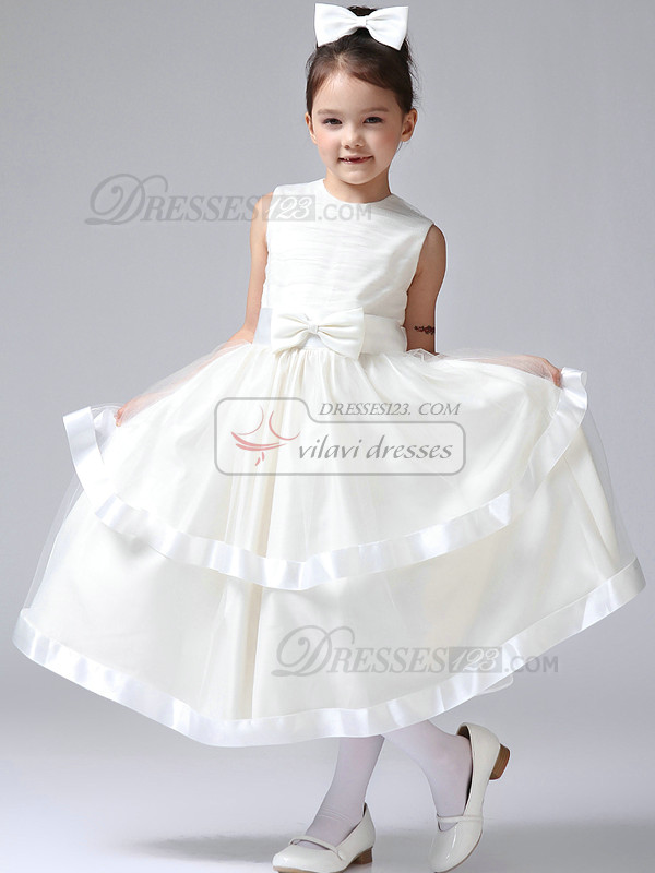 Ball Gown Round Brought Tea-length Tulle Bowknot Flower Girl Dresses
