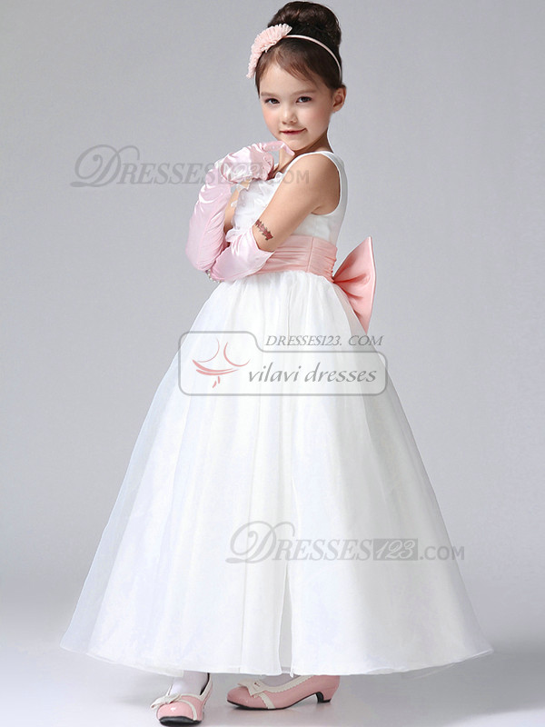 Ball Gown Square Ankle-length Tulle Bowknot Flower Girl Dresses