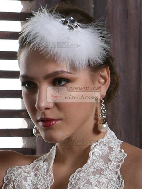 Soft Down Headpiece With Shining Rhinestones